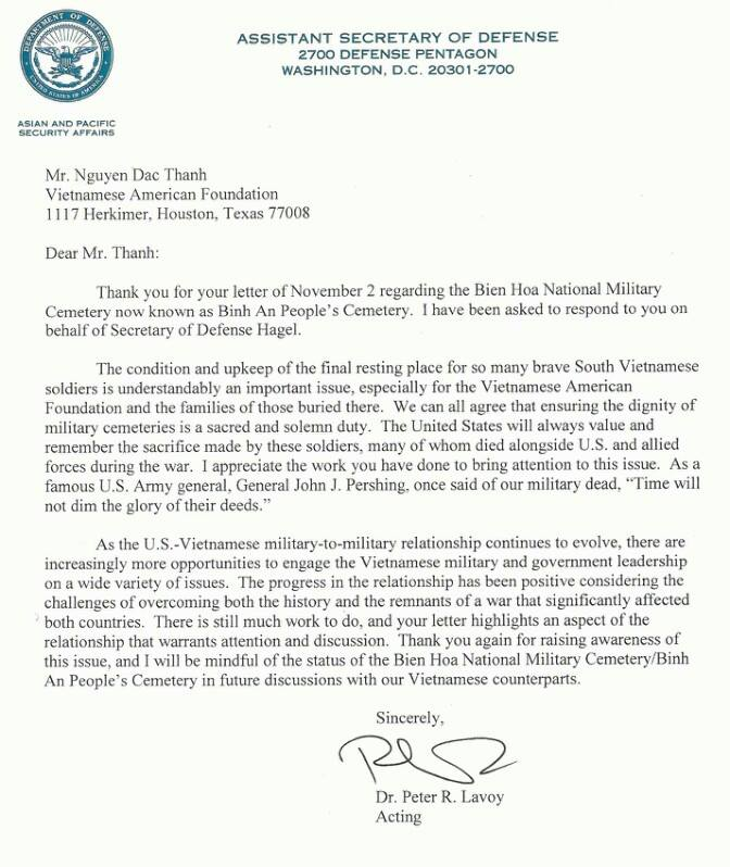 Letter from Secretary of defense
